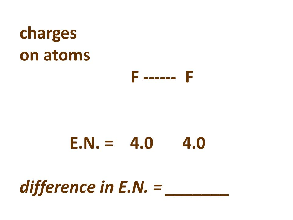 charges on atoms F ------ F E.N. = 4.0 4.0 difference in E.N. = _______