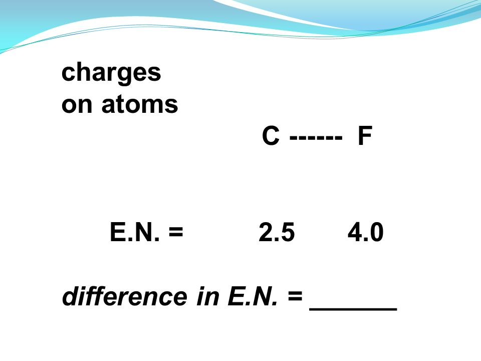charges on atoms C ------ F E.N. = 2.5 4.0 difference in E.N. = ______