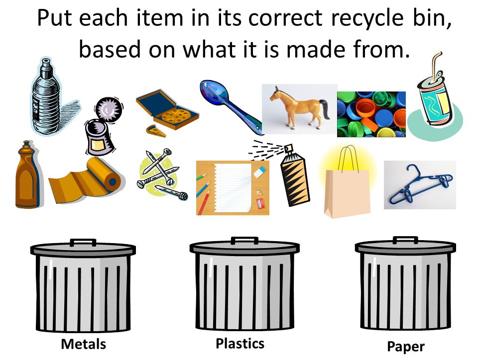 Put each item in its correct recycle bin, based on what it is made from. Metals Plastics Paper