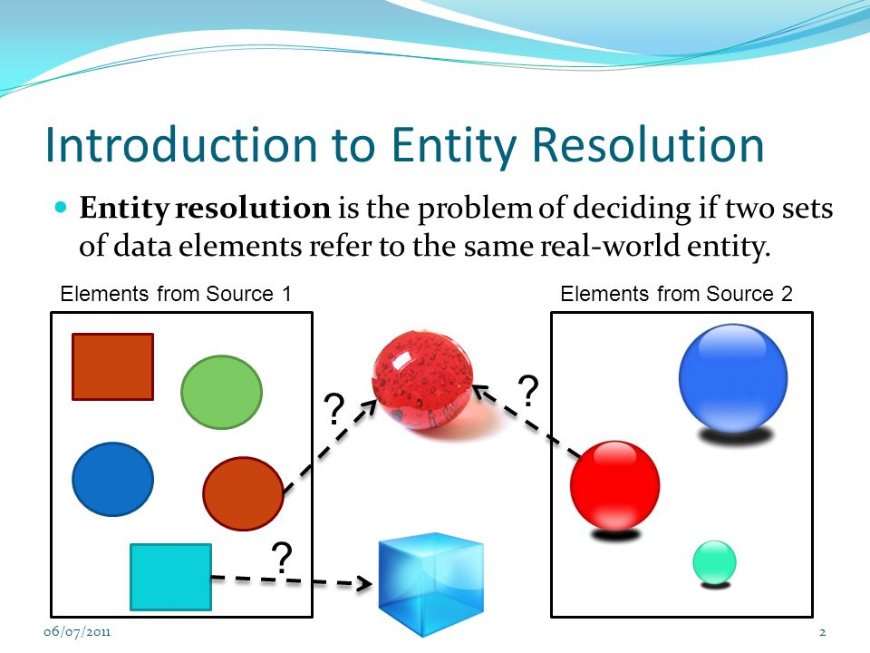 Introduction to Entity Resolution Entity resolution is the problem of deciding if two sets of data elements refer to the same real-world entity.