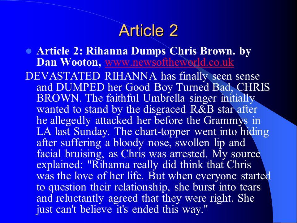 Article 2 Article 2: Rihanna Dumps Chris Brown.
