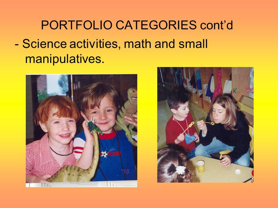 PORTFOLIO CATEGORIES cont'd Center Work like: –Creative Arts