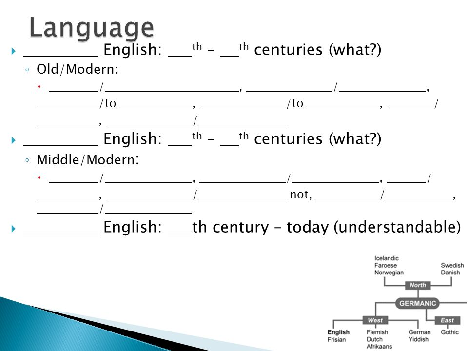  English: th – th centuries (what?) ◦ Old/Modern:  /, /, /to, /to, /, /  English: th – th centuries (what?) ◦ Middle/Modern :  /, /, /, / not, /,