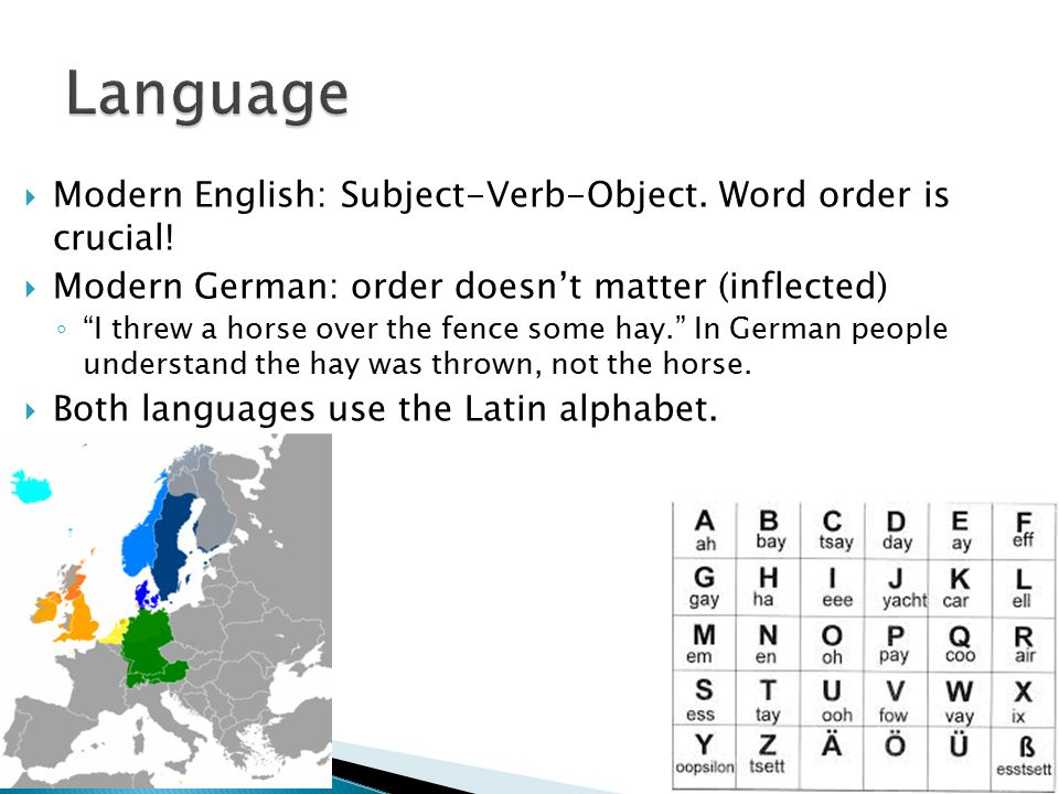 " Modern English: Subject-Verb-Object. Word order is crucial!  Modern German: order doesn't matter (inflected) ◦ ""I threw a horse over the fence some"