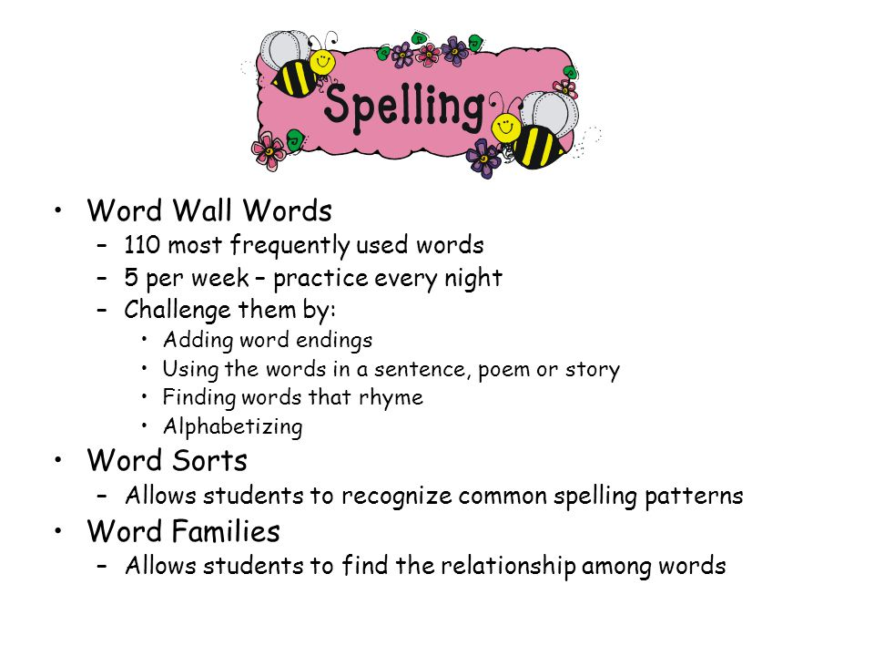 Word Wall Words –110 most frequently used words –5 per week – practice every night –Challenge them by: Adding word endings Using the words in a sentence, poem or story Finding words that rhyme Alphabetizing Word Sorts –Allows students to recognize common spelling patterns Word Families –Allows students to find the relationship among words