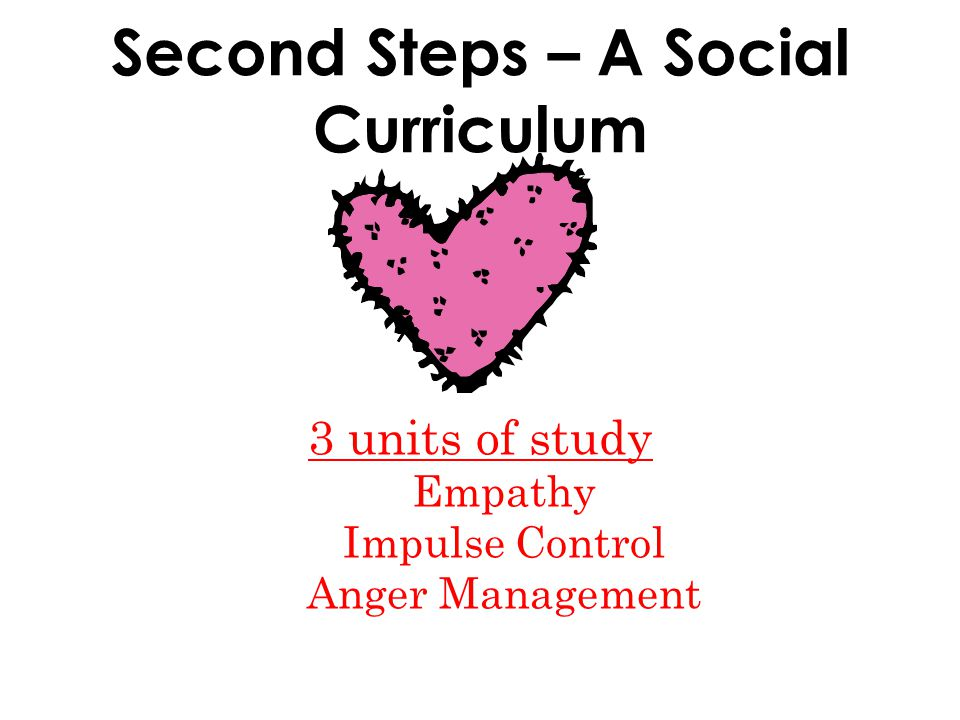 Second Steps – A Social Curriculum 3 units of study Empathy Impulse Control Anger Management