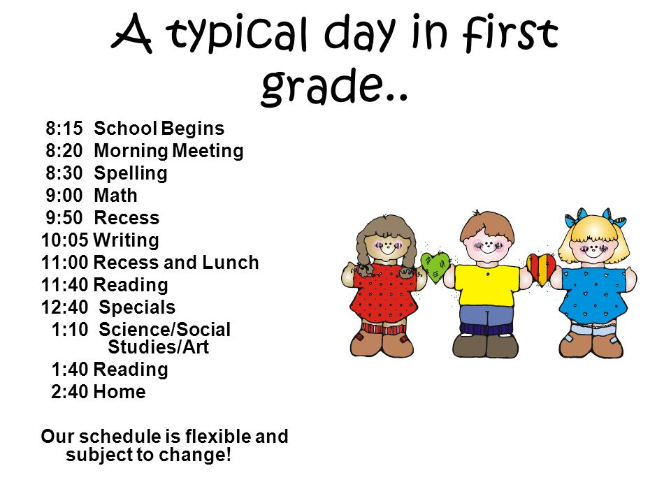 A typical day in first grade..