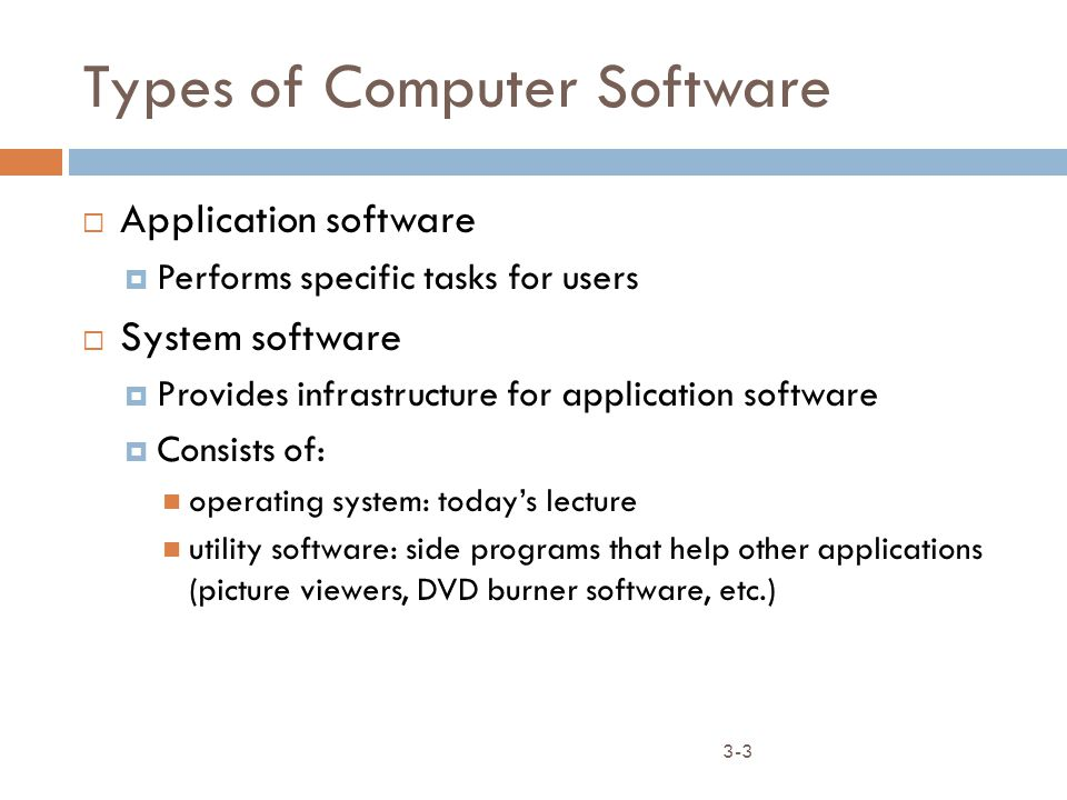 3-3 Types of Computer Software  Application software  Performs specific tasks for users  System software  Provides infrastructure for application software  Consists of: operating system: today's lecture utility software: side programs that help other applications (picture viewers, DVD burner software, etc.)