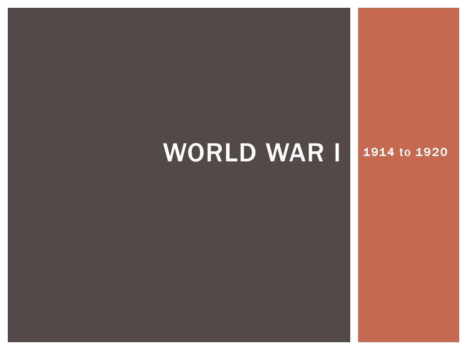 1914 to 1920 WORLD WAR I