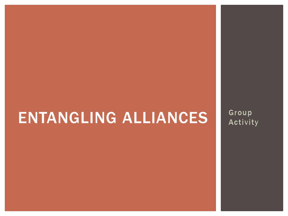 Group Activity ENTANGLING ALLIANCES