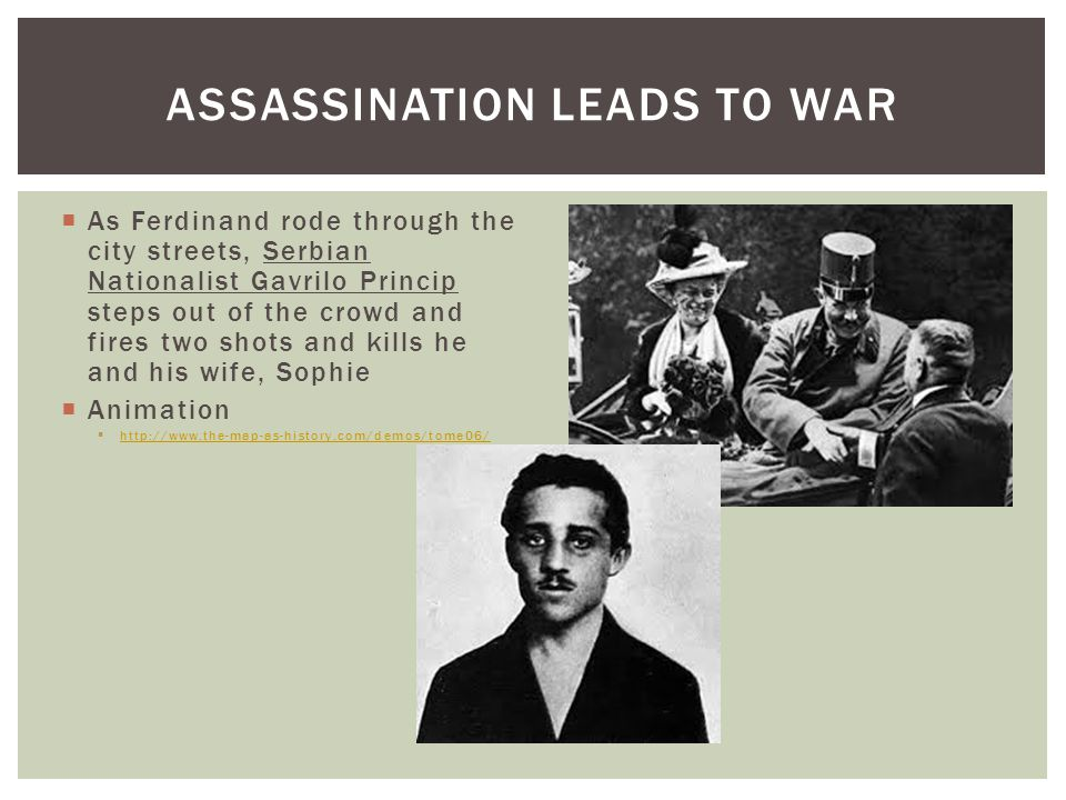  As Ferdinand rode through the city streets, Serbian Nationalist Gavrilo Princip steps out of the crowd and fires two shots and kills he and his wife, Sophie  Animation  http://www.the-map-as-history.com/demos/tome06/ http://www.the-map-as-history.com/demos/tome06/ ASSASSINATION LEADS TO WAR