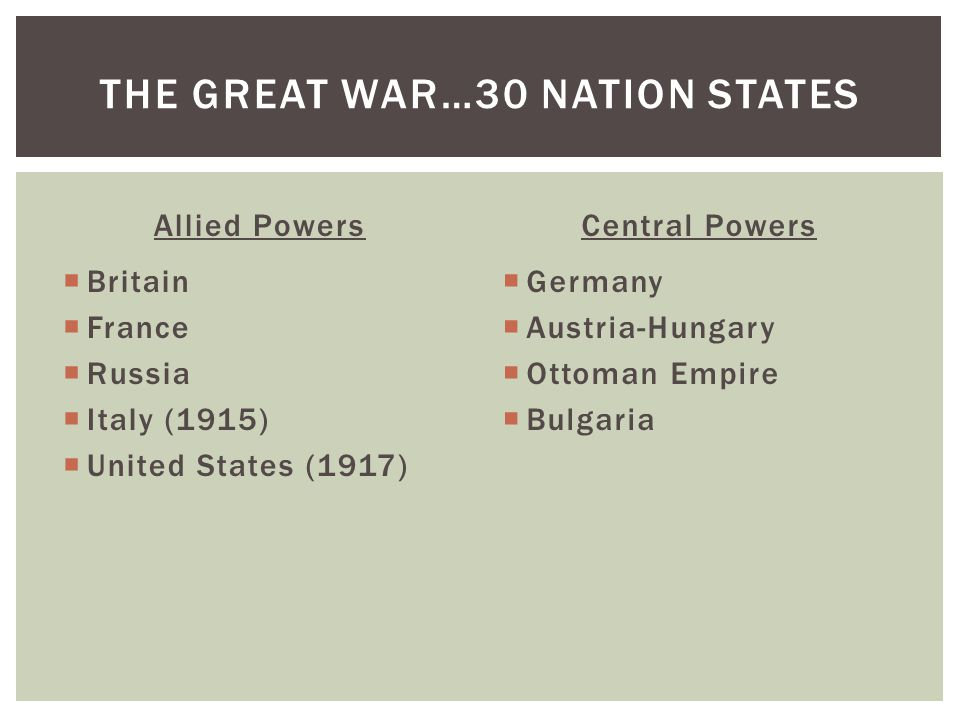 Allied Powers  Britain  France  Russia  Italy (1915)  United States (1917) Central Powers  Germany  Austria-Hungary  Ottoman Empire  Bulgaria THE GREAT WAR…30 NATION STATES