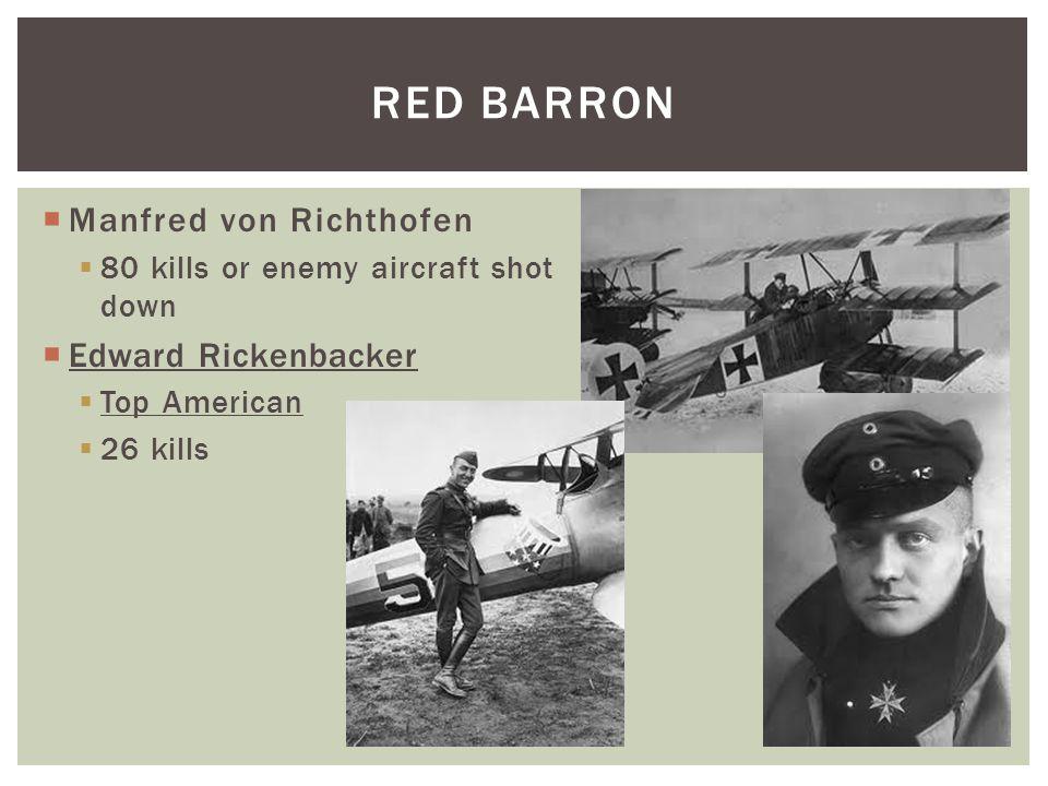  Manfred von Richthofen  80 kills or enemy aircraft shot down  Edward Rickenbacker  Top American  26 kills RED BARRON