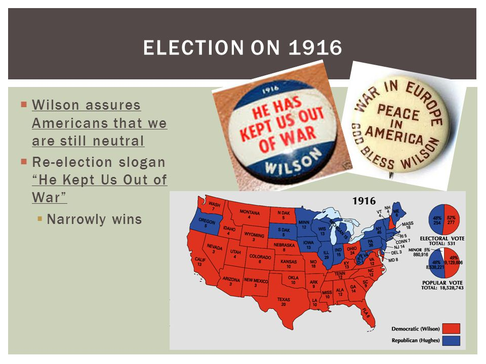  Wilson assures Americans that we are still neutral  Re-election slogan He Kept Us Out of War  Narrowly wins ELECTION ON 1916