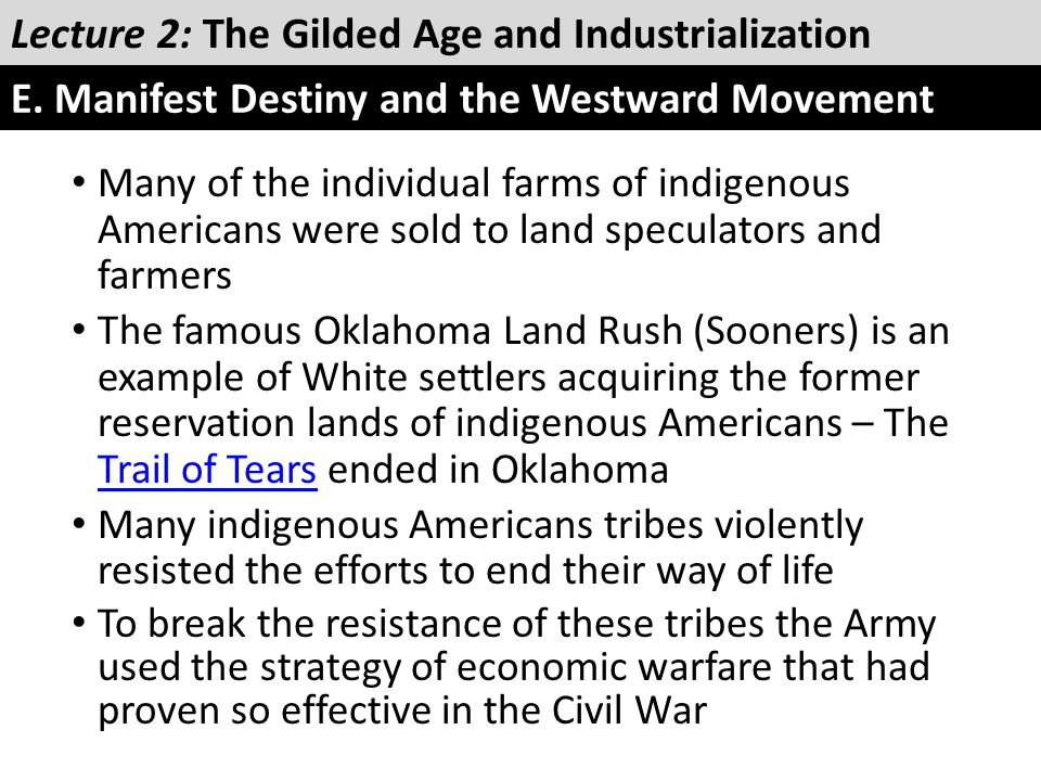 Many of the individual farms of indigenous Americans were sold to land speculators and farmers The famous Oklahoma Land Rush (Sooners) is an example o