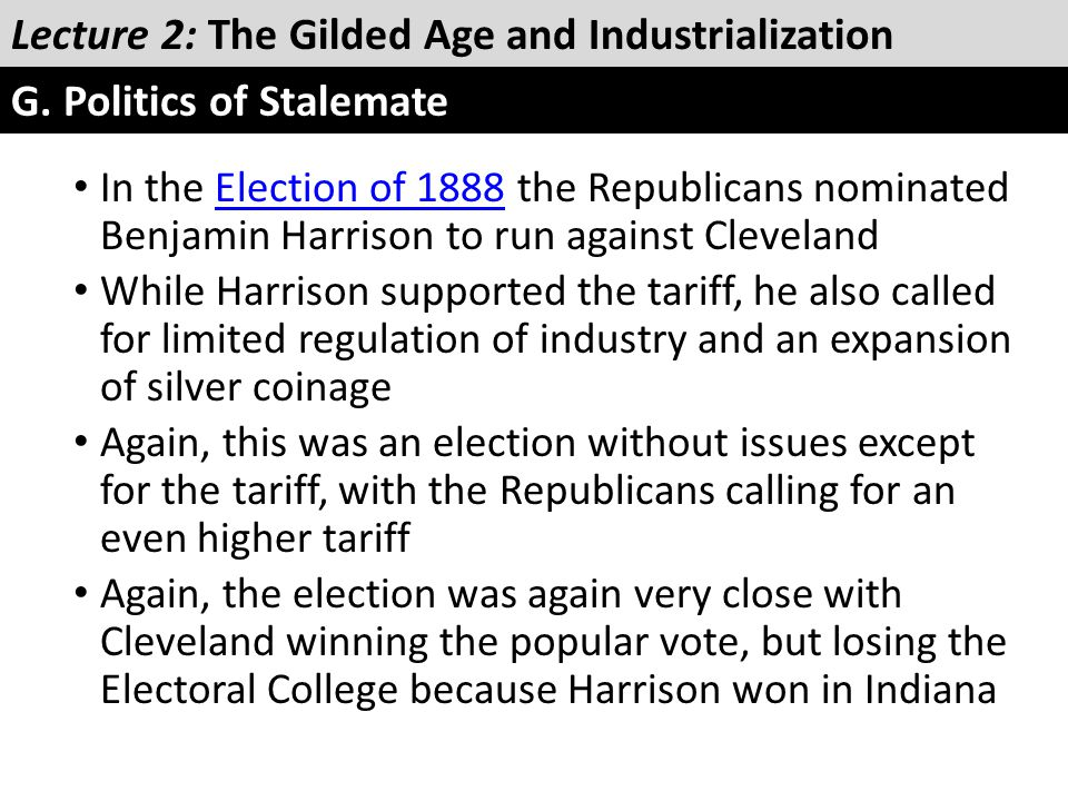 In the Election of 1888 the Republicans nominated Benjamin Harrison to run against ClevelandElection of 1888 While Harrison supported the tariff, he a