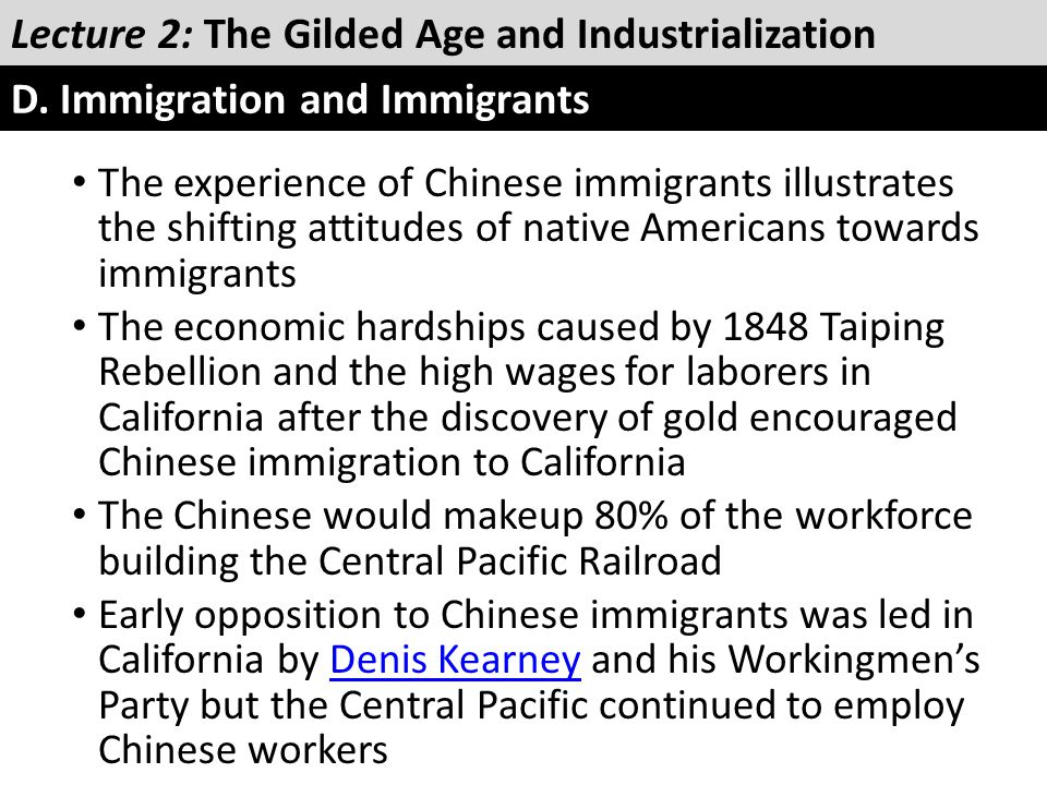 The experience of Chinese immigrants illustrates the shifting attitudes of native Americans towards immigrants The economic hardships caused by 1848 T