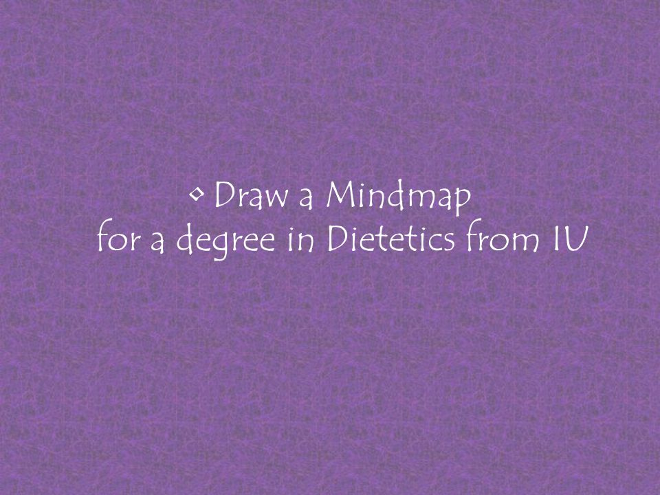 Draw a Mindmap for a degree in Dietetics from IU