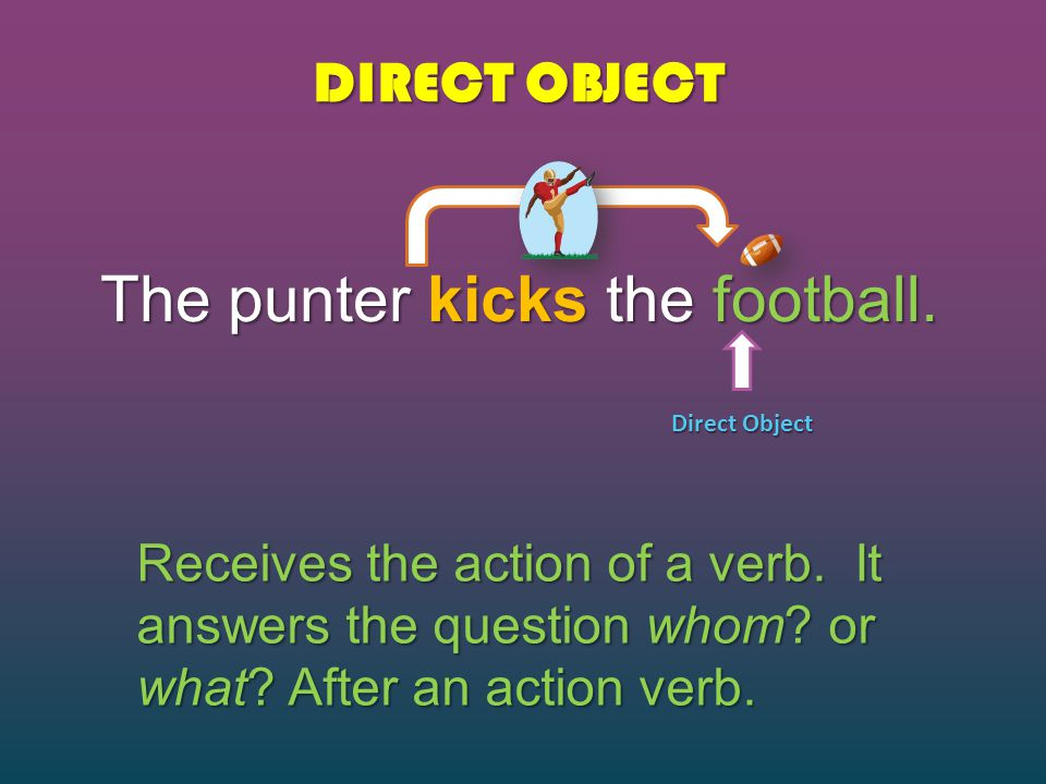 DIRECT OBJECT The punter kicks the football. Direct Object Receives the action of a verb. It answers the question whom? or what? After an action verb.