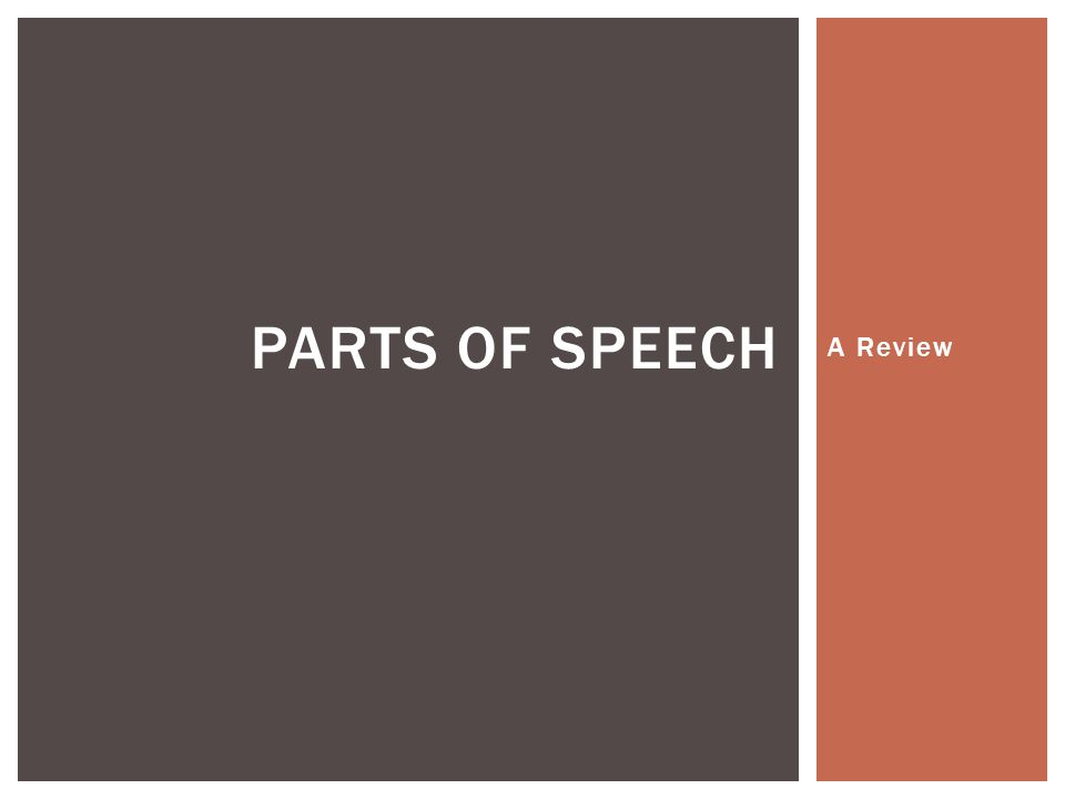 A Review PARTS OF SPEECH