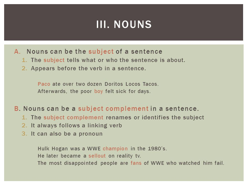 A.Nouns can be the subject of a sentence 1.The subject tells what or who the sentence is about. 2.Appears before the verb in a sentence. Paco ate over