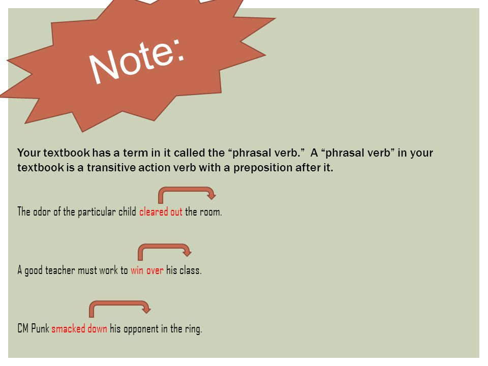 """Note: Your textbook has a term in it called the """"phrasal verb."""" A """"phrasal verb"""" in your textbook is a transitive action verb with a preposition after"""