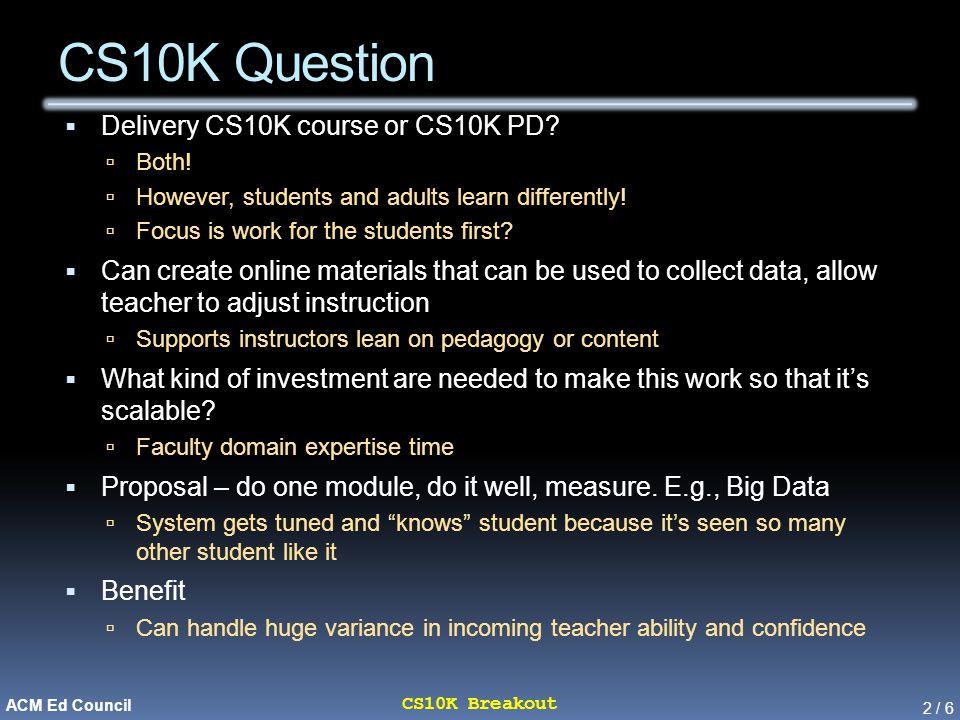 2 / 6 CS10K Breakout ACM Ed Council CS10K Question  Delivery CS10K course or CS10K PD.