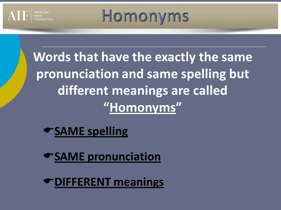 "Words that have the exactly the same pronunciation and same spelling but different meanings are called ""Homonyms""  SAME spelling  SAME pronunciation"