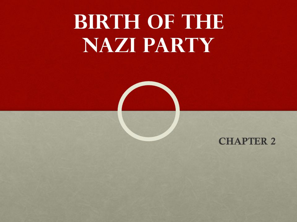 BIRTH OF THE nazi party CHAPTER 2