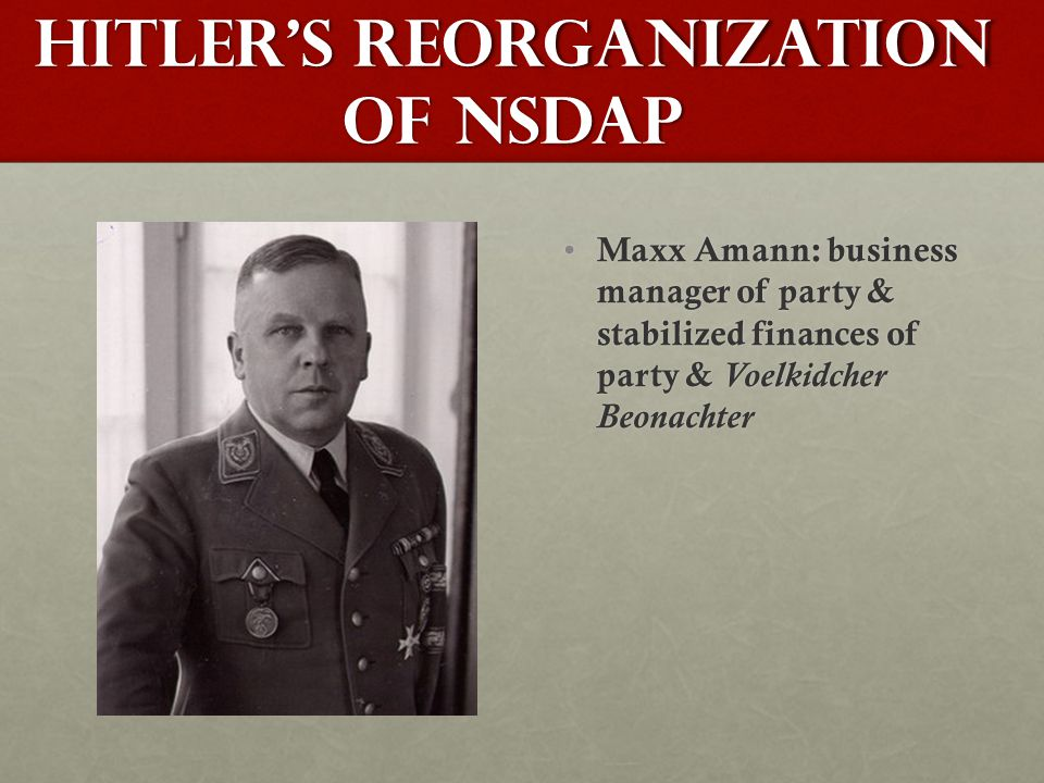 Hitler's Reorganization of NSDAP Maxx Amann: business manager of party & stabilized finances of party & Voelkidcher Beonachter Maxx Amann: business manager of party & stabilized finances of party & Voelkidcher Beonachter