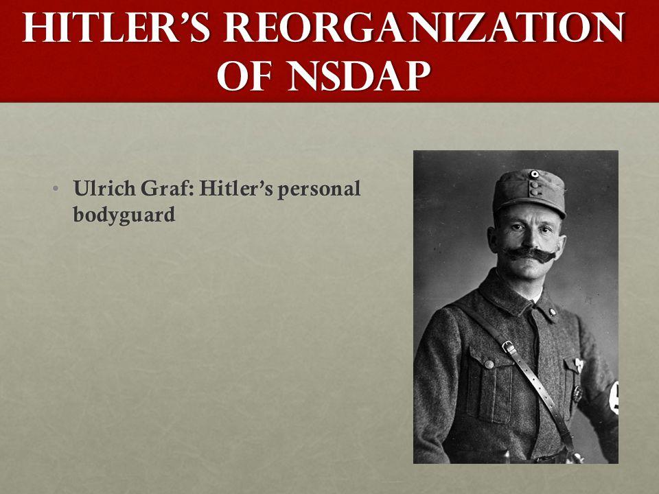 Hitler's Reorganization of NSDAP Ulrich Graf: Hitler's personal bodyguard Ulrich Graf: Hitler's personal bodyguard