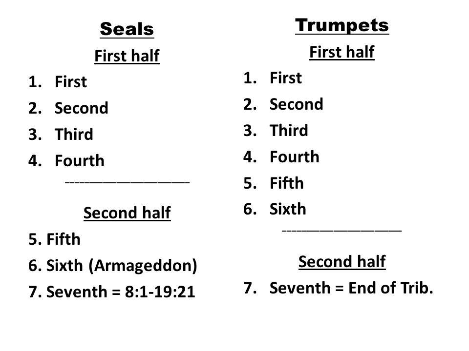 Seals First half 1.First 2.Second 3.Third 4.Fourth ___________________________ Second half 5.