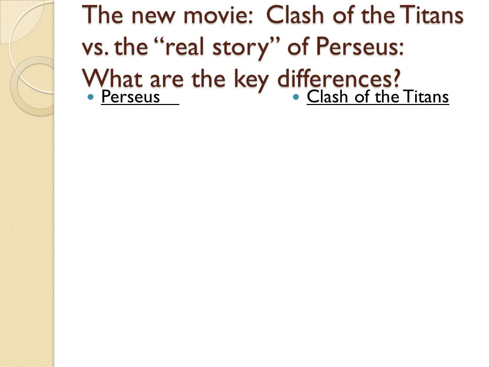The new movie: Clash of the Titans vs. the real story of Perseus: What are the key differences.