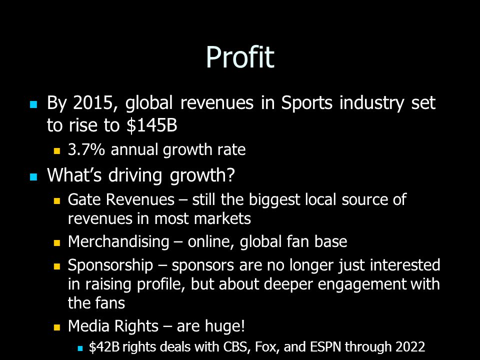 Profit By 2015, global revenues in Sports industry set to rise to $145B By 2015, global revenues in Sports industry set to rise to $145B 3.7% annual growth rate 3.7% annual growth rate What's driving growth.