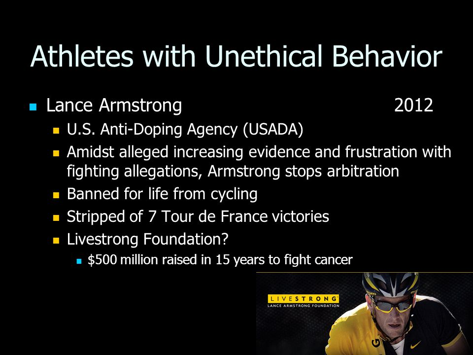 Athletes with Unethical Behavior Lance Armstrong 2012 Lance Armstrong 2012 U.S.