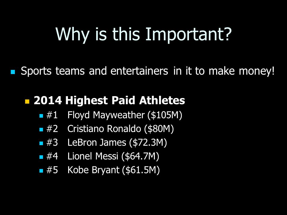 Why is this Important. Sports teams and entertainers in it to make money.