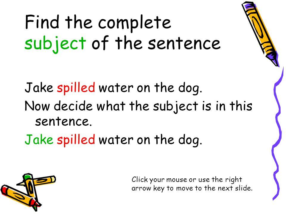 Find the complete subject of the sentence Jake spilled water on the dog.