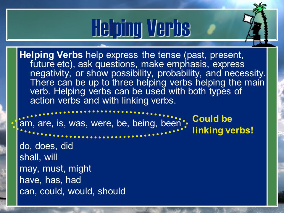 Helping Verbs Helping Verbs help express the tense (past, present, future etc), ask questions, make emphasis, express negativity, or show possibility,
