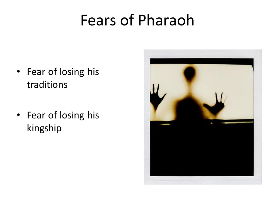Fears of Pharaoh Fear of losing his traditions Fear of losing his kingship