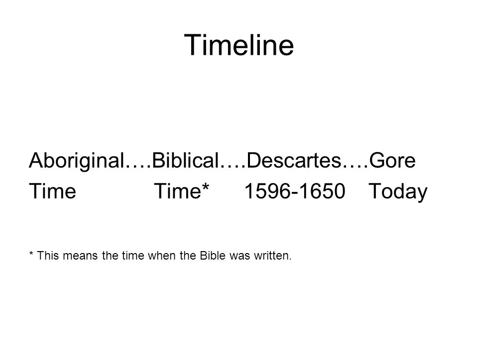 Timeline Aboriginal….Biblical….Descartes….Gore Time Time* 1596-1650 Today * This means the time when the Bible was written.