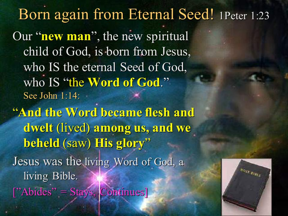 """""""Having been born again, not of corruptible seed but incorruptible [seed], through the word of God which lives and abides forever"""" 2 nd Birth: Born Of"""
