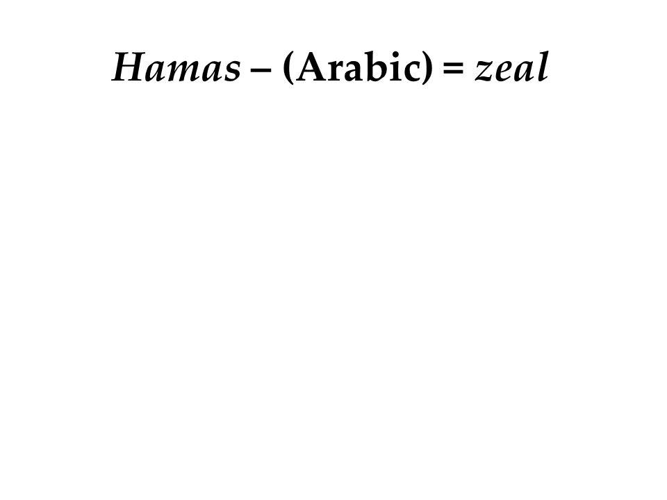 Hamas – (Arabic) = zeal