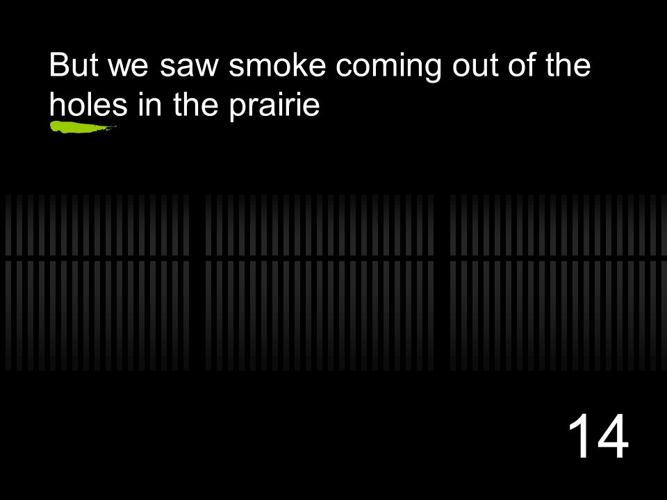 14 But we saw smoke coming out of the holes in the prairie