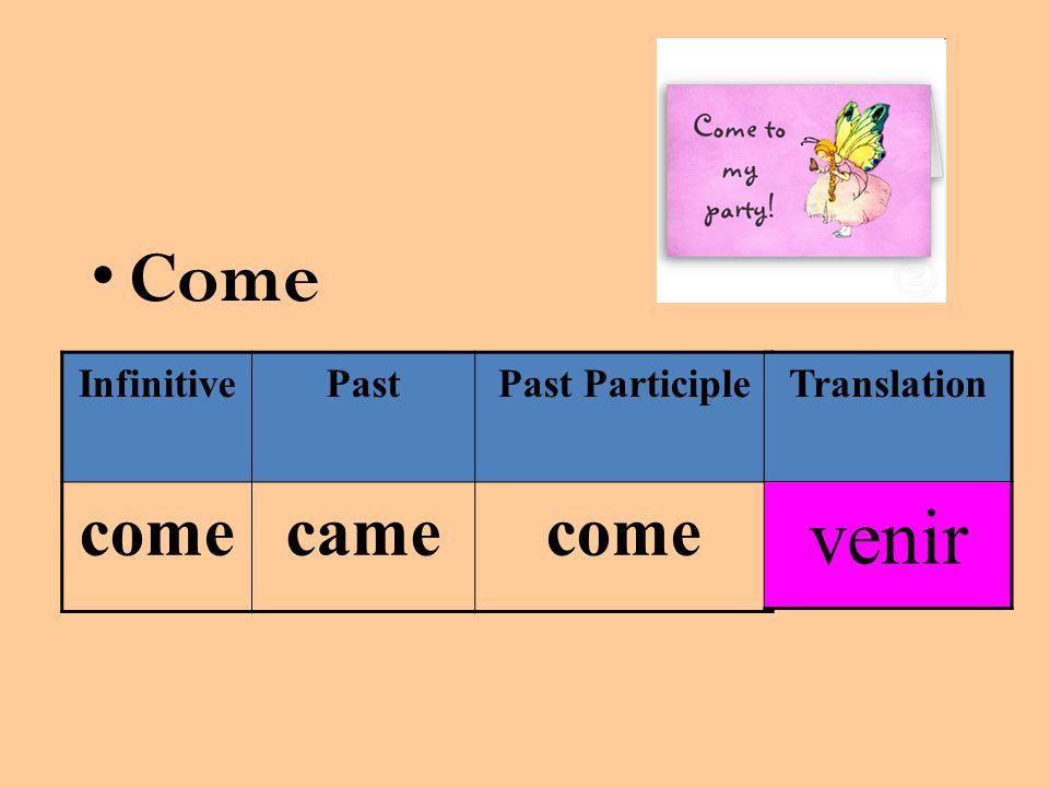 Come InfinitivePastPast Participle comecamecome Translation venir