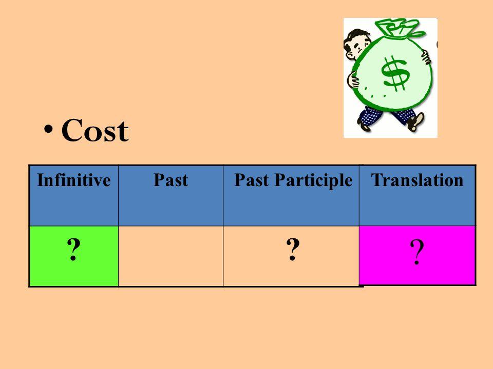 Cost InfinitivePastPast Participle Translation