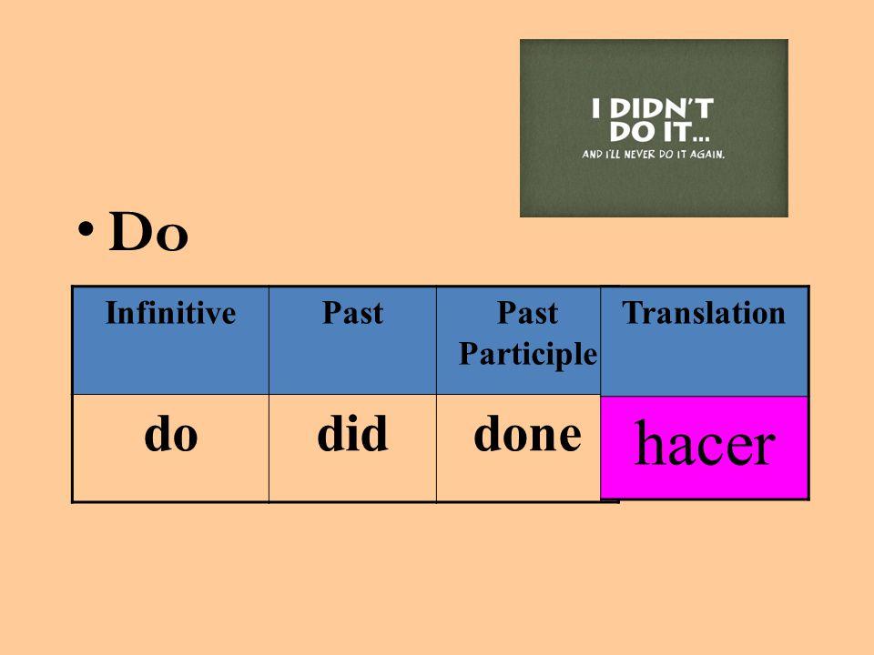 Do InfinitivePastPast Participle dodiddone Translation hacer