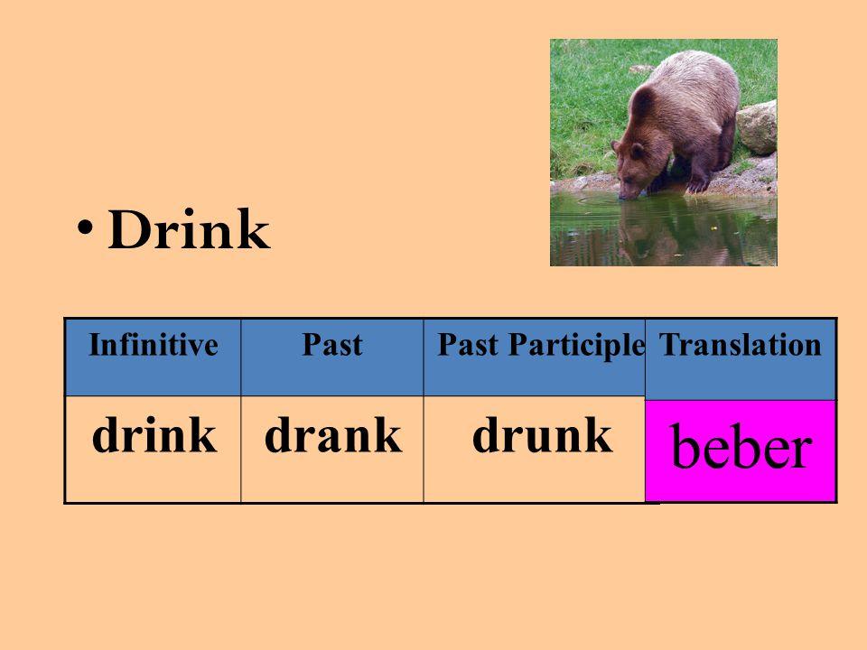 Drink InfinitivePastPast Participle drinkdrankdrunk Translation beber
