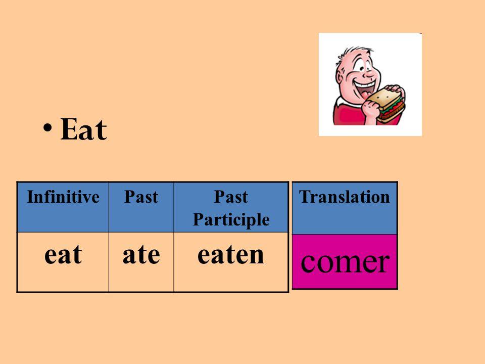 Eat InfinitivePastPast Participle eatateeaten Translation comer