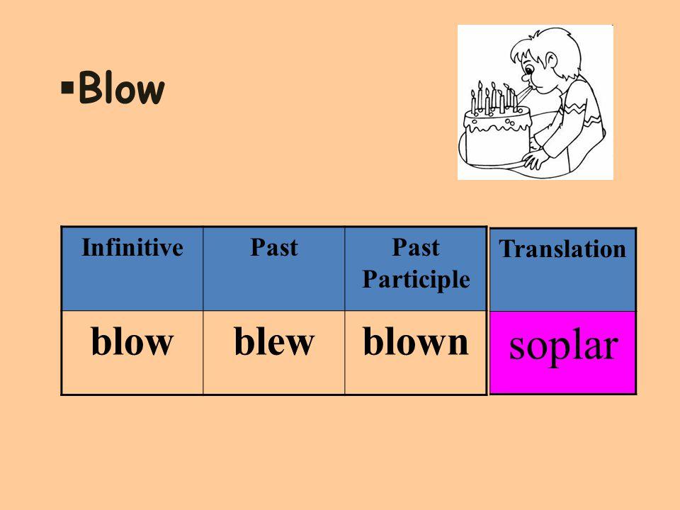  Blow InfinitivePastPast Participle blowblewblown Translation soplar