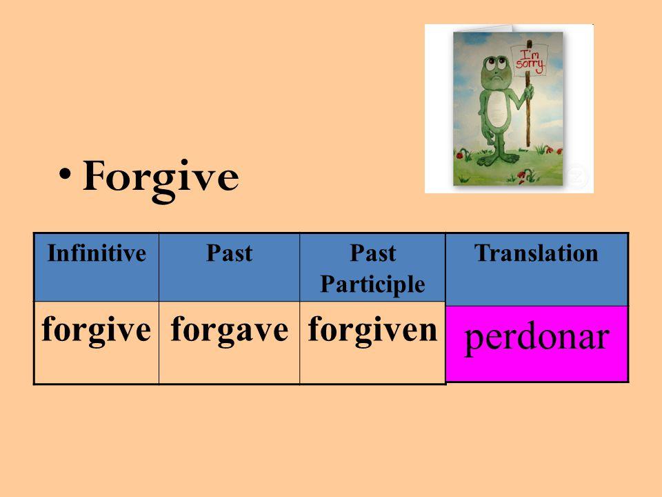 Forgive InfinitivePastPast Participle forgiveforgaveforgiven Translation perdonar
